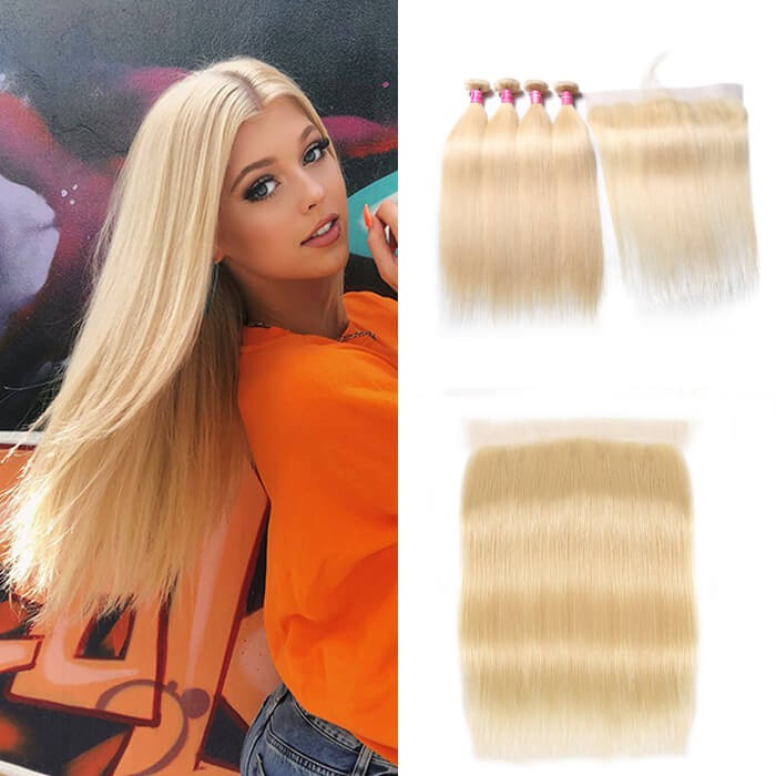 Kriyya Best Peruvian 613 Blonde Straight Hair 4 Bundles With 13x4 Lace Frontal Closure Sew In