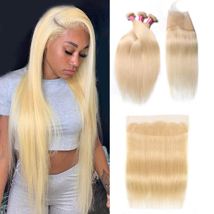 Kriyya 3 Bundles Straight With 13*4 Lace Frontal Malaysian Remy Human Hair