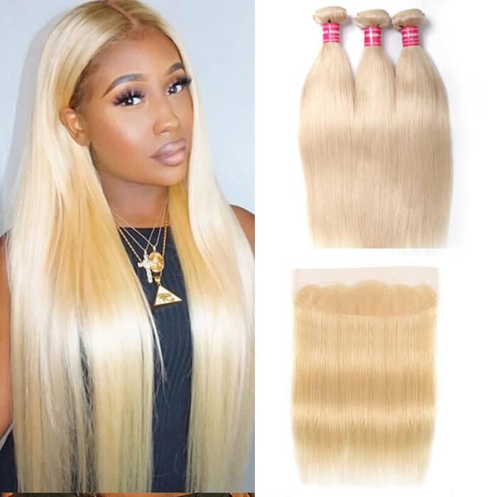 Kriyya 3 Pcs Straight Virgin Remy Hair With 13*4 Lace Frontal Brazilian Hair