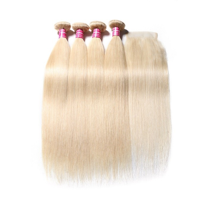 Kriyya Best 613 Blonde Indian Hair 4 Bundles With Closure 4x4 Free Part