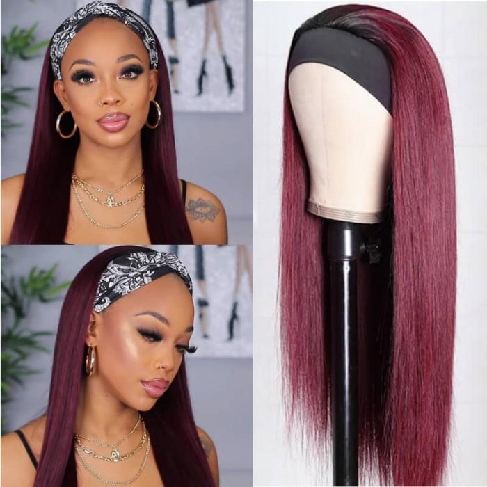 Kriyya 99J Headband Wig with Natual Black Root Straight Human Hair Wigs Sale