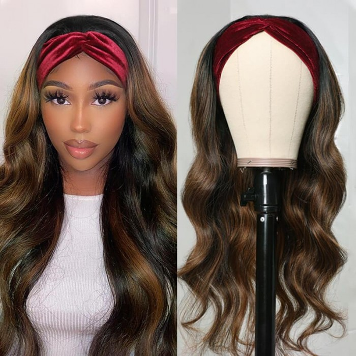 Kriyya Balayage Highlight Body Wave Headband Wigs #FB30 Root Bronde Highlight Human Hair Wigs