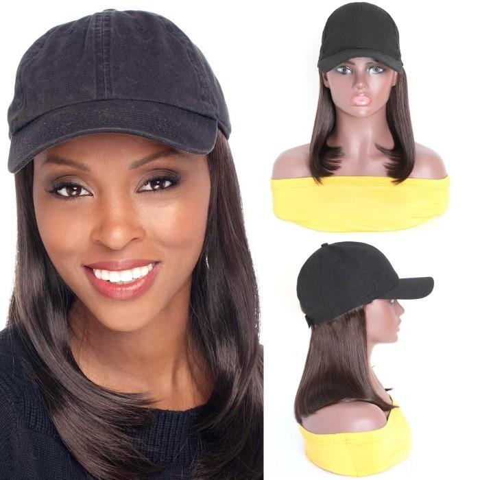 Kriyya Baseball Cap Wig With Hair Extensions Straight Wigs Light Brown 150% Density