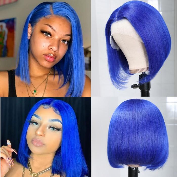 Kriyya Hair Short Blue Bob Wig Pre Plucked Human Hair 13x4 Lace Front Wig 150% Density 10-14 Inch