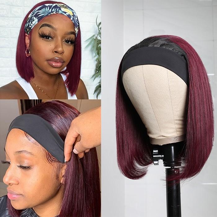 Kriyya Brazilian Virgin hair Bob Wigs Headband Wig With Black Roots 150% Density Ombre 1B/99J Wine Red Color