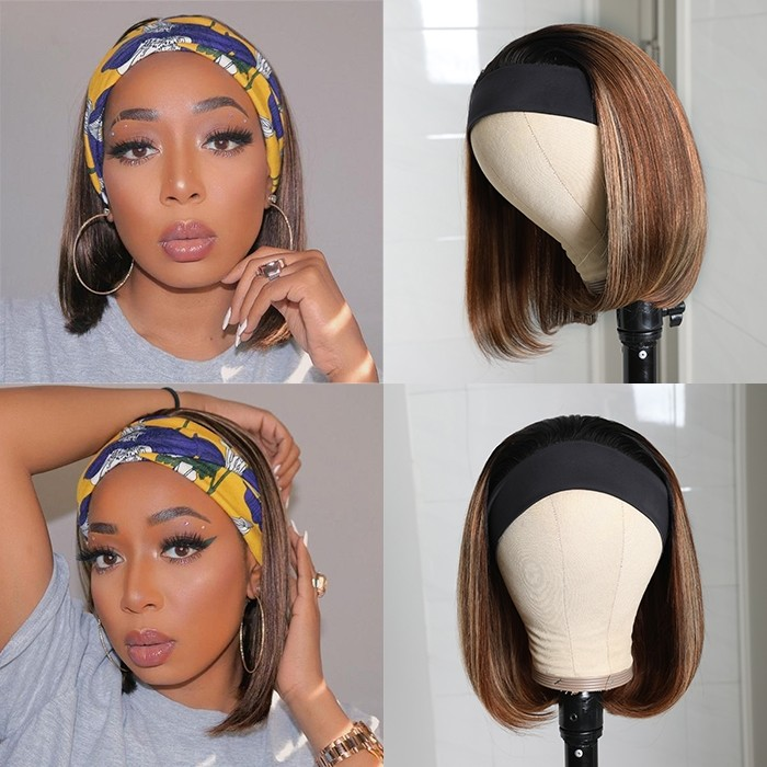 Kriyya Bob HeadBand Wigs 150% Density Ombre Brown Highlight 1BTL412 Color Glueless Human Hair Wigs