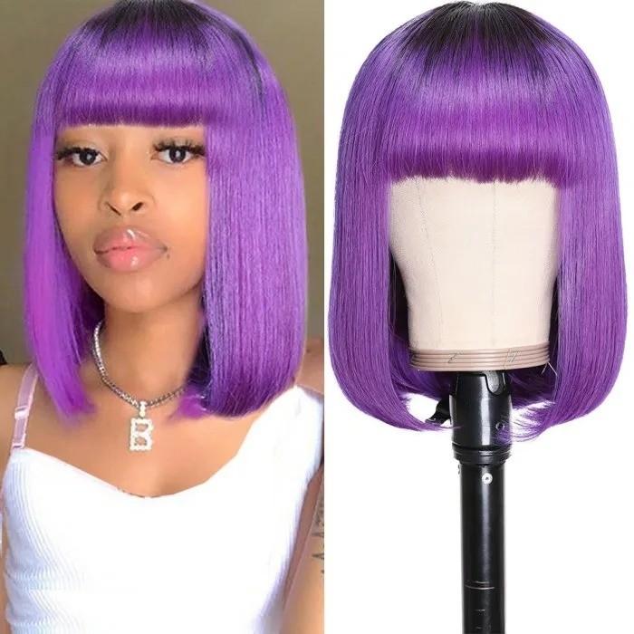 Kriyya Bob Wigs With Bangs Capless Wig Purple Ombre Glueless Human Hair Wig
