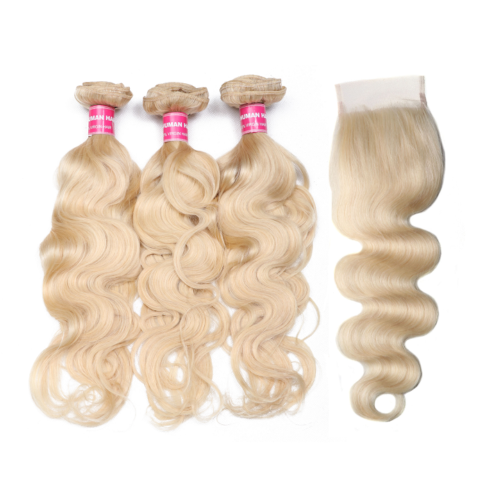 Kriyya 613 Blonde Body Wave 3 Bundles Natural Hair Weave With 4*4 Lace Closure Brazilian Human Hair