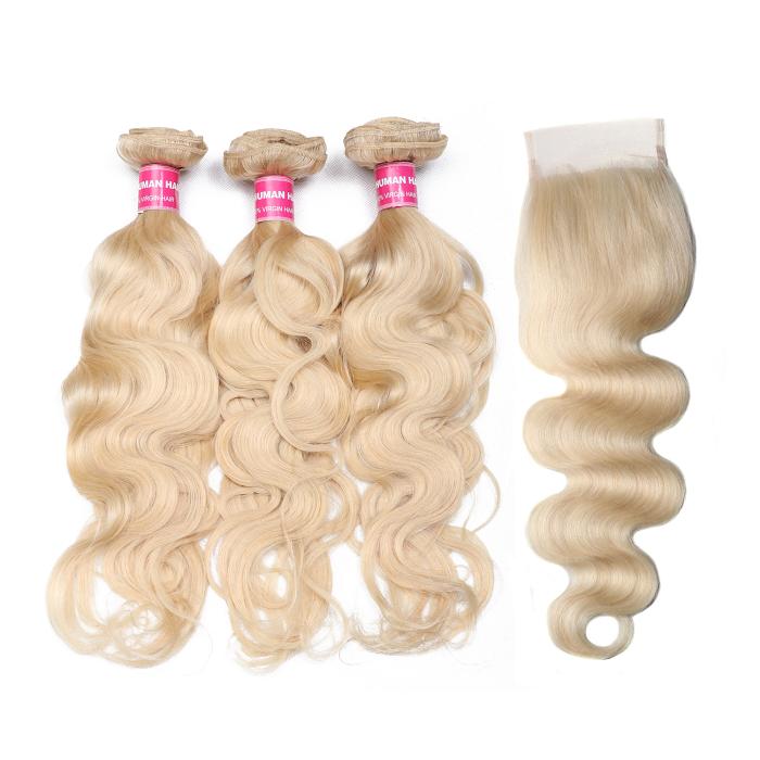 Kriyya 613 Blonde Body Wave 3 Pcs Human Hair Bundles With 4*4 Lace Closure Indian Hair