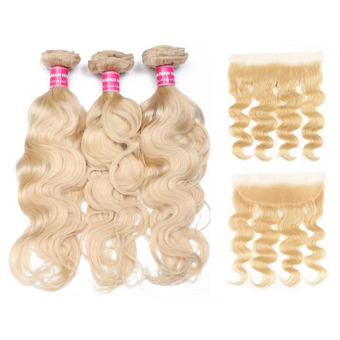 Kriyya Brazilian Hair 3 Bundles Body Wave Virgin Hair With 13*4 Lace Frontal