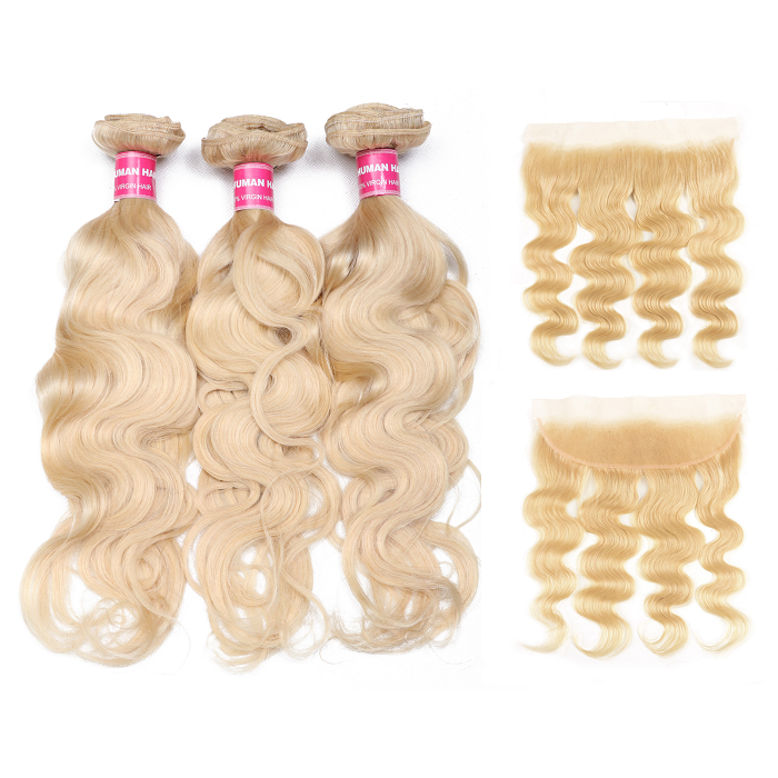 Kriyya Peruvian 3 Pcs Body Wave Hair Bundle Deals With 13*4 Lace Frontal