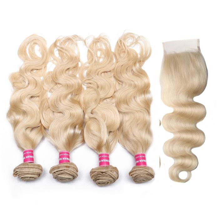Kriyya Peruvian Hair 4 Bundles 613 Blonde Body Wave Hair With 4x4 Closure Sew In