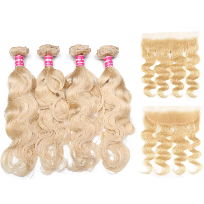 Kriyya 613 Blonde 4 Bundles With 13x4 Lace Frontal Malaysian Body Wave Sew In