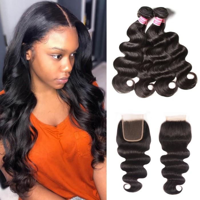 Kriyya Body Wave Brazilian 4 Hair Bundles With Closure 4X4 Inch