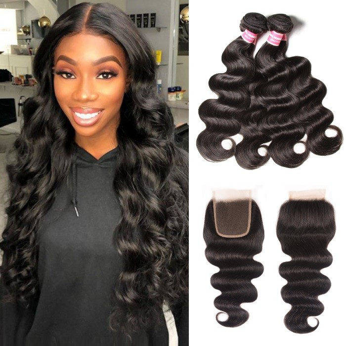 Kriyya Indian 4 Bundles Body Wave Hair With 4X4 Lace Closure