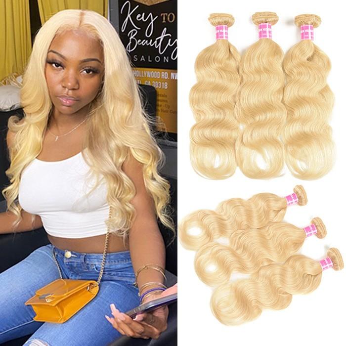 Kriyya Body Wave Hair 3 Bundles Hair Bundle Deals 613 Color Peruvian Hair