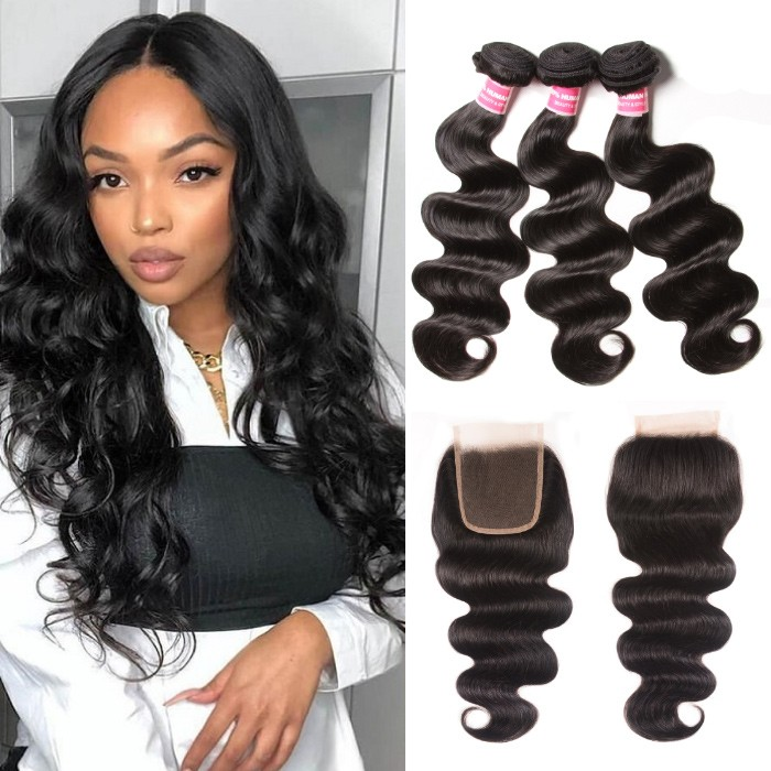 Kriyya Best Malaysian Body Wave Weave 3 Bundles With 4X4 Lace Closure Sew In
