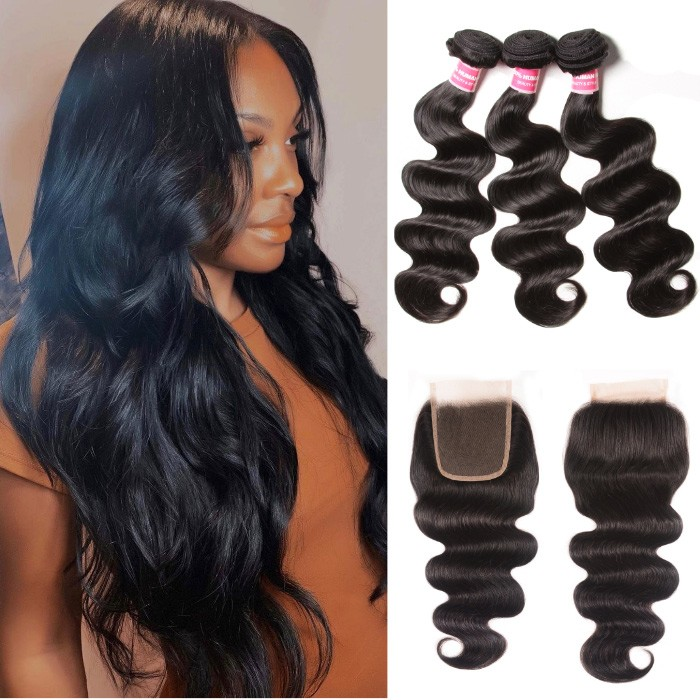 Kriayy Peruvian Hair Body Wave 3 Bundles Deals With 4X4 Lace Closure