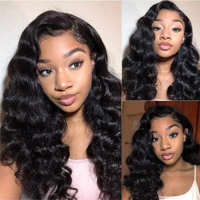 Kriyya Bouncy Body Wave Lace Front Wigs Wand Curls Human Hair Wig With Baby Hair
