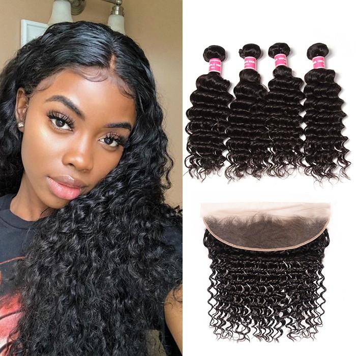 Kriyya Deep Wave Brazilian Hair 4 Bundles With Pre plucked 13x4 Lace Frontal