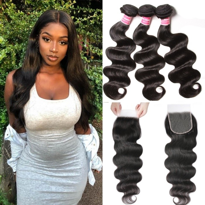 Kriyya 3 Bundles Body Wave With 5x5 HD Lace Closure Human Hair Weave Natural Color