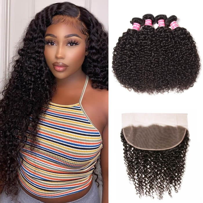 Kriyya Brazilian Curly Sew In 13x4 Lace Frontal With 4 Bundles