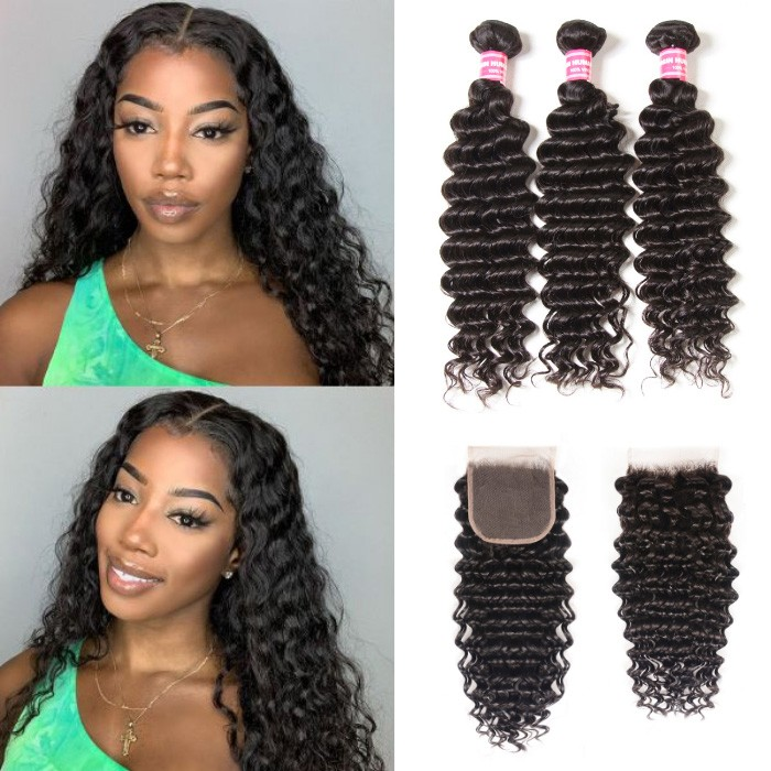 Kriyya Peruvian Deep Wave Hair Closure 4X4 Inch With 3 Bundles Virgin Hair