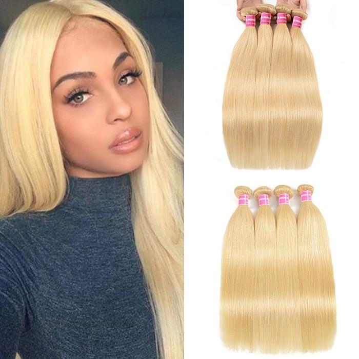 Kriyya Brazilian Virgin Hair 613 Blonde 4 Bundles Straight Human Hair Weave