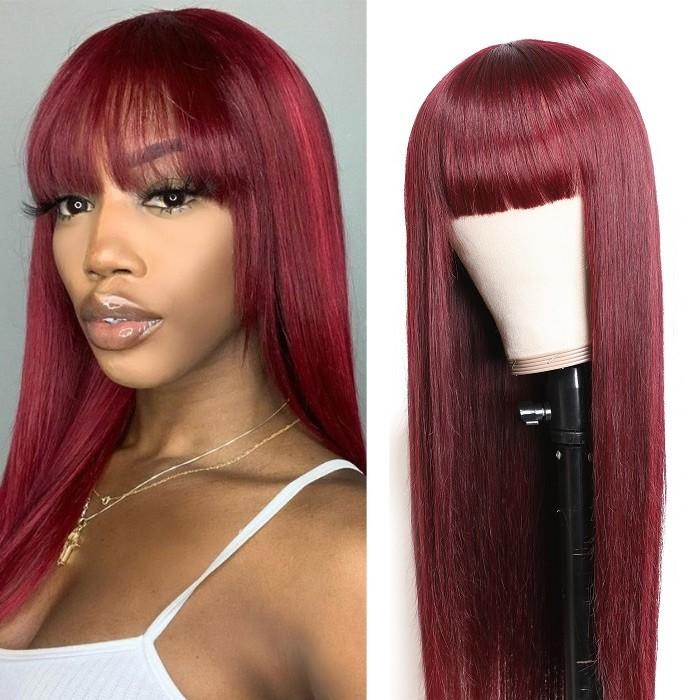 Kriyya Burgundy Red Hair Wigs With Bangs 99J Cinnamon Hair Color Machine Made Capless Virgin Human Hair Wig