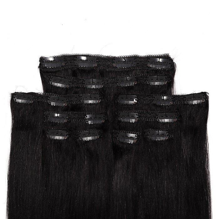 Kriyya Clip In Jet Black Remy Hair 18 Inch Hair Extensions