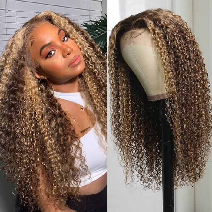 Kriyya Curly Hair Honey Blonde Ombre Highlight Wigs 13x4 Lace Front Wig 13X5 T Part Lace Human Hair Wigs Pre Plucked 150%