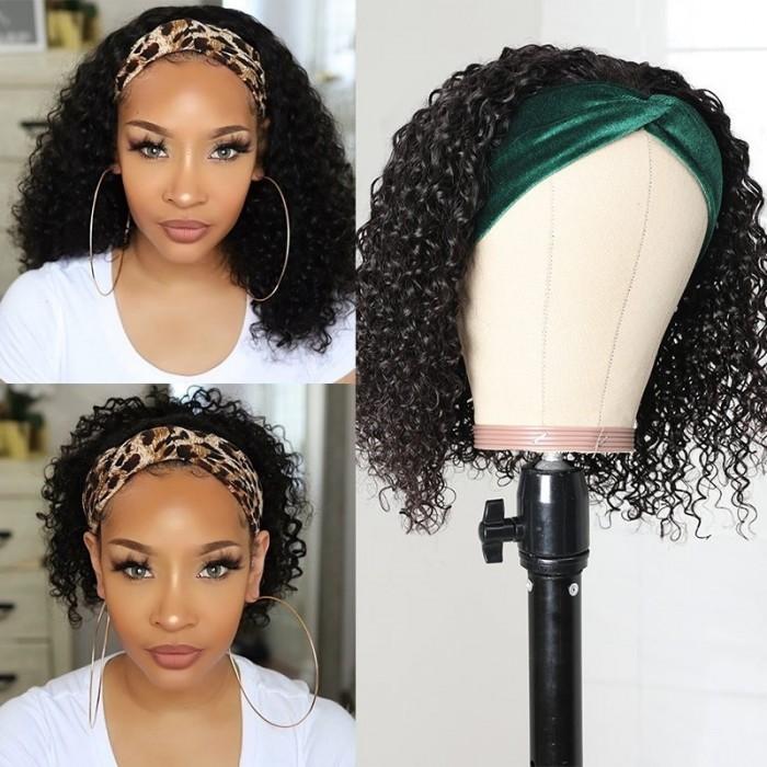 Kriyya Headband Wigs Jerry Curly Bob Wigs Glueless Human Hair Wigs 150% Density 10-14 Inch For Women