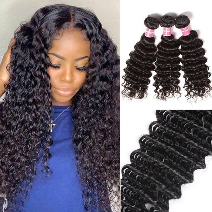 Kriyya Peruvian Deep Wave 3 Bundle Deals Human Hair Weave 9A Virgin Hair