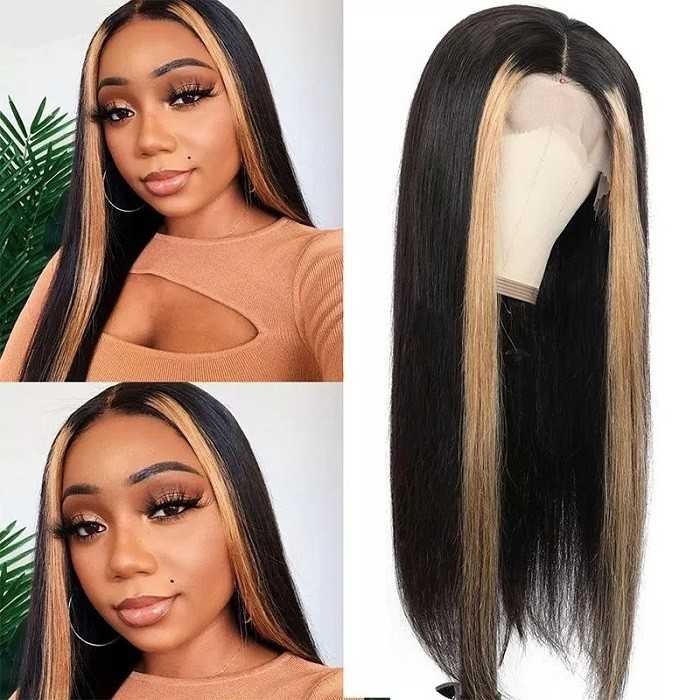 Kriyya Highlight 27# Lace Part Wig Straight Three Part Human Hair Lace Wig with Blonde Streak 150% Density