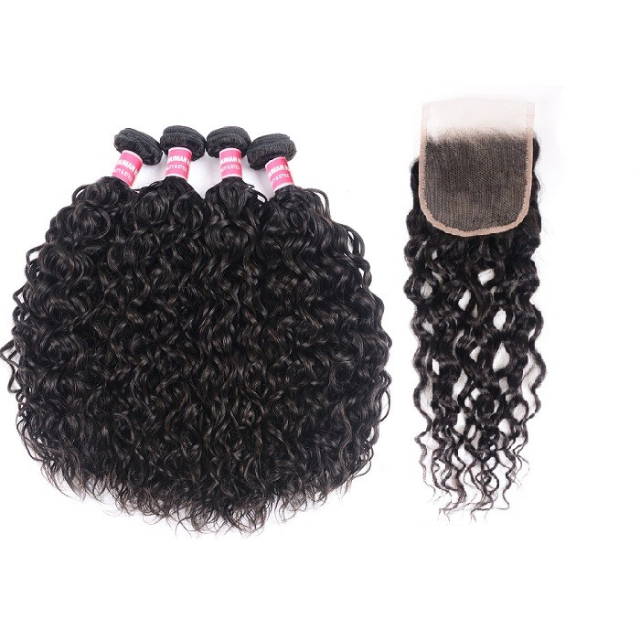 Kriyya 4pcs Malaysian Hair Bundles With Closure Water Wave Hair