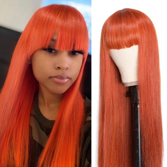 Kriyya Ginger Colored Glueless Human Hair Straight Wigs With Bangs Capless Wig Cinnamon Hair Color