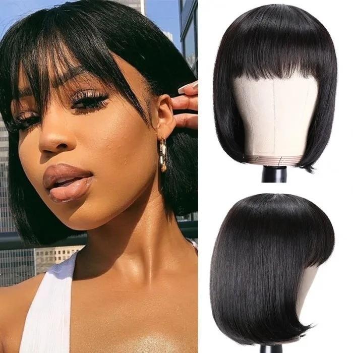 Kriyya Glueless Human Hair Blunt Cut Bob Wig With Bangs Natural Black 150% Density