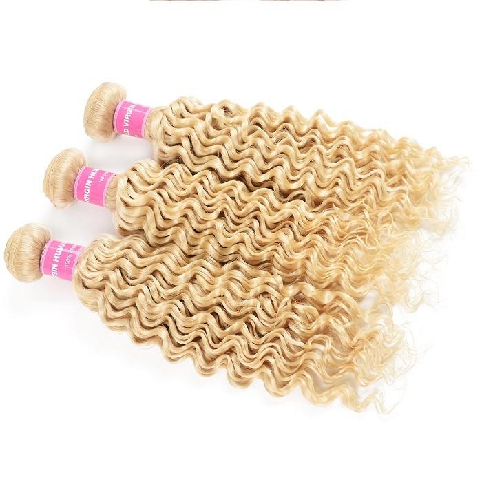 Kriyya Malaysian Deep Wave 3 Pcs 613 Blonde Human Hair Natural Hair Weave
