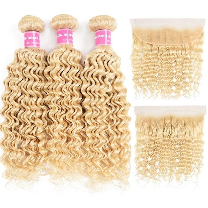 Kriyya 3 Bundles 613 Blonde Deep Wave Virgin Hair With 13x4 Lace Frontal Brazilian Hair