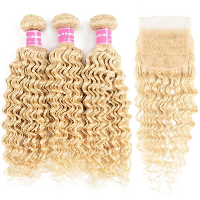 Kriyya Deep Wave 613 Blonde Human Hair 3 Bundles With 4x4 Lace Closure Brazilian Hair