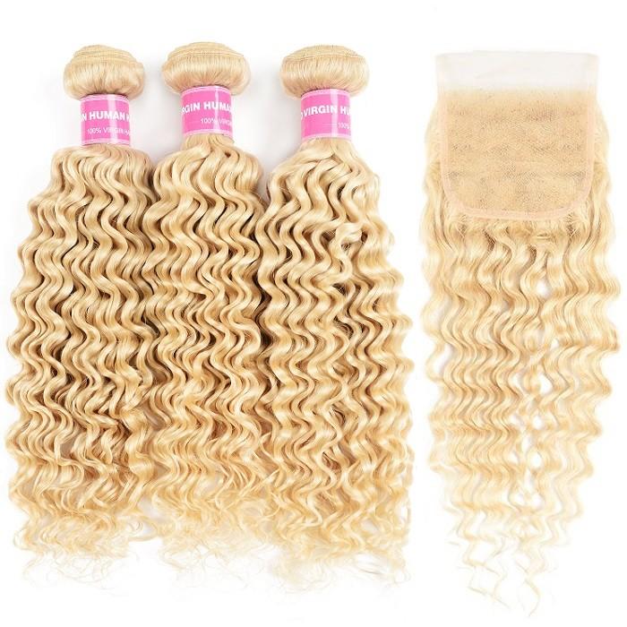 Kriyya Malaysian 613 Blonde Human Hair Deep Wave 3 Bundles With 4x4 Lace Closure