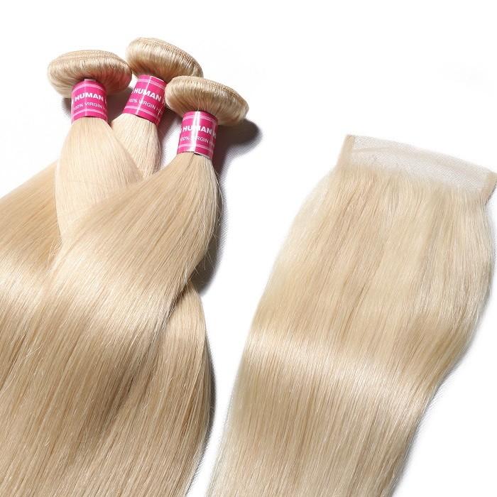 Kriyya 613 Blonde Peruvian Virgin Hair 3 Bundles Straight Weave Hair With 4*4 Lace Closure