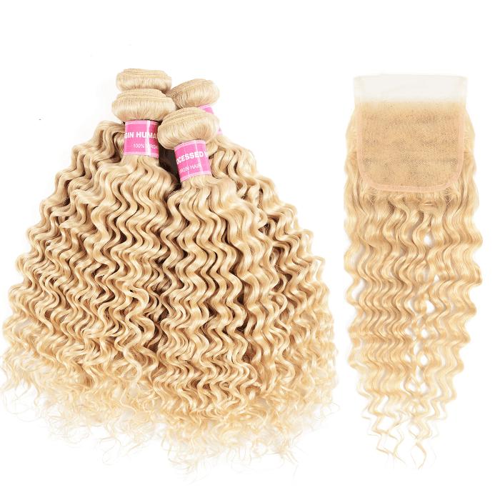 Kriyya Brazilian Virgin Human Hair 613 Color 4 Pcs Deep Wave With 4x4 Lace Closure