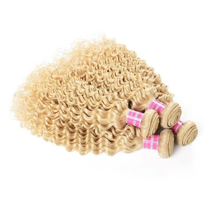 Kriyya Brazilian Virgin Hair 4 Bundles Deep Wave Human Hair 613 Color