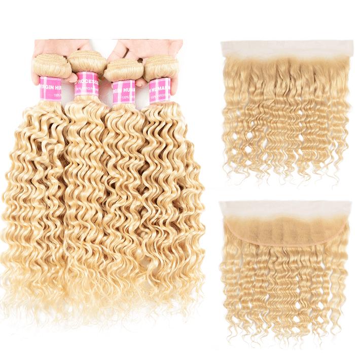 Kriyya 4 Bundles 613 Blonde Brazilian Deep Wave Human Hair Weave With 13x4 Lace Frontal