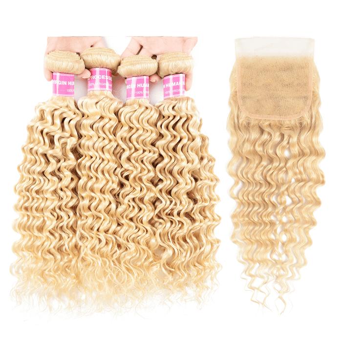 Kriyya Malaysian Virgin Hair 4 Pcs Deep Wave With 4x4 Lace Closure 613 Color