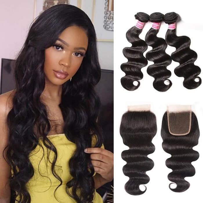 Kriyya Hair Body Wave Virgin Hair 3 Bundles With Transparent Lace Closure 4 X 4 Inch