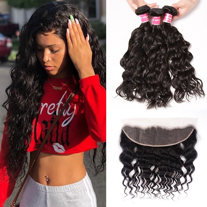 Kriyya Indian Hair 3 Pcs Natural Wave 100 Real Human Hair Weave With 13*4 Lace Frontal
