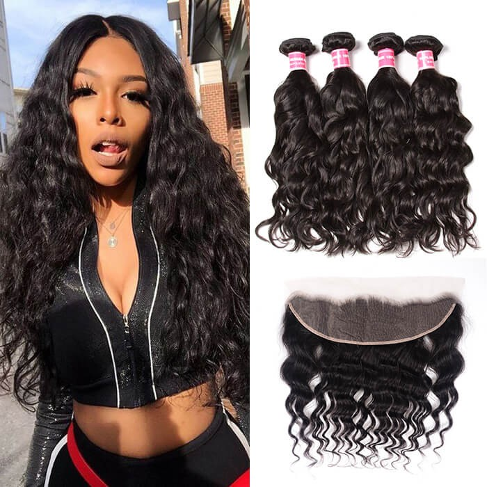 Kriyya Natural Wave Brazilian Hair 4 Bundles With 13x4 lace Frontal human hair Sew In