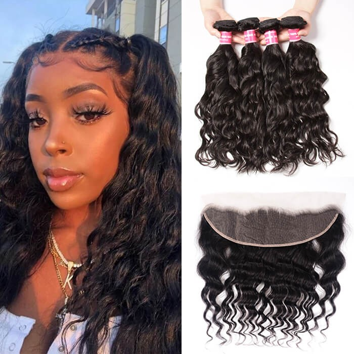 Kriyya Malaysian Natural Wave Wet And Wavy Hair 4 Bundles With 13x4 Frontal Closure